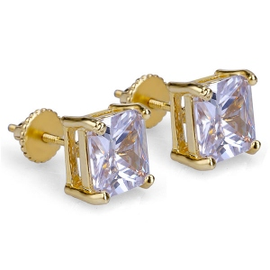 Princess Cut CZ Stud Earrings for Women
