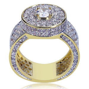 Hip Hop Iced Out Ring for Men in Gold