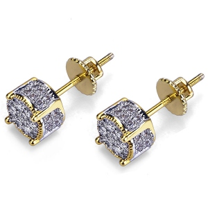 Iced Out CZ Stud Round Earrings In Gold Plated Brass