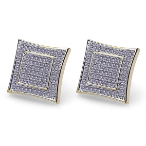 Full Iced Out Square Stud Earrings In Gold Plated Brass