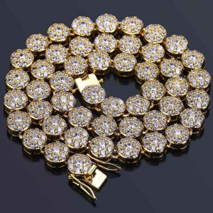 Iced Out Mens CZ Cluster Chain