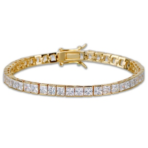 Square-cut CZ Tennis Bracelet