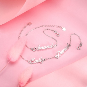 Personalized 1-4 Names Bracelet in Silver