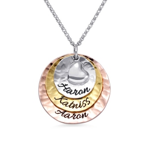 Personalized Tri-Tone Hammered 3 Disc Necklace