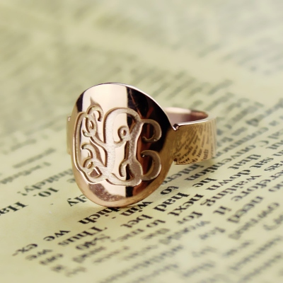 Fashionable Solid Rose Gold Engraved Monogram Initial Ring