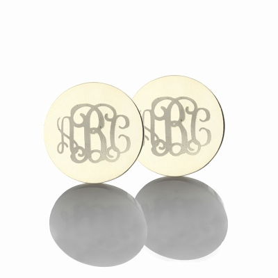 Refined Solid White Gold Circle Monogram 3 Initial Earrings