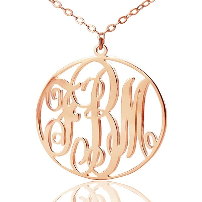 Solid Rose Gold Classic Vine Font Circle Initial Monogram Necklace