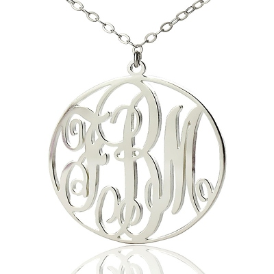 Chic Solid White Gold Vine Font Circle Initial Monogram Necklace