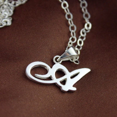 Amazing Solid White Gold Personalized Madonna Style Initial Necklace