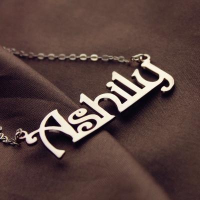 Elegant Solid Rose Gold Harrington Font Name Necklace