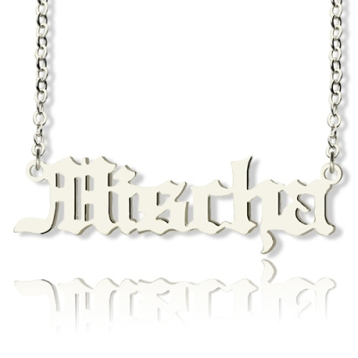 Special Solid White Gold Mischa Barton Style Old English Font Name Necklace