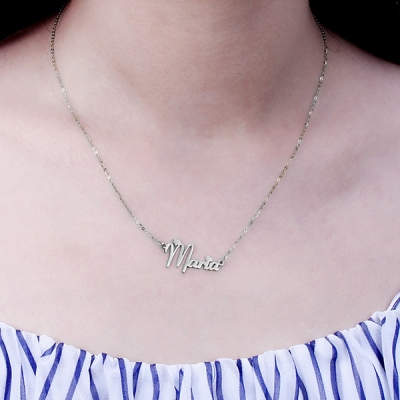 Exquisite Personalized Solid White Gold Fiolex Girls Font Heart Name Necklace