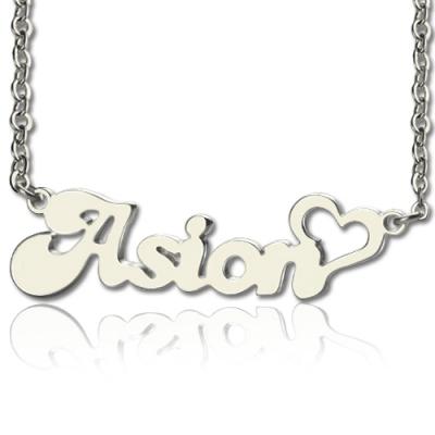 Unique White Gold 10k/14k/18k Custom BANANA Font Heart Shape Name Necklace