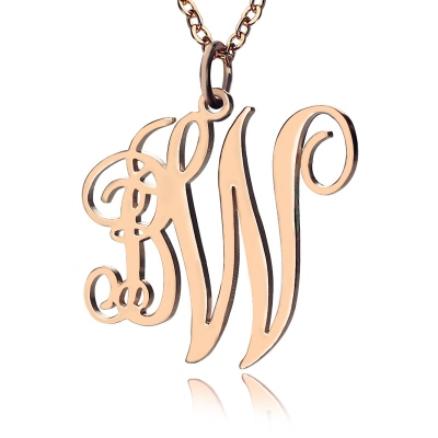 Solid Rose Gold Magnificent Personalized Vine Font 2 Initial Monogram Necklace