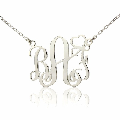 Beautiful Solid White Gold With Heart Initial Monogram Necklace