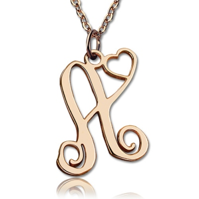 Lovely Solid Rose Gold One Initial With Heart Monogram Necklace