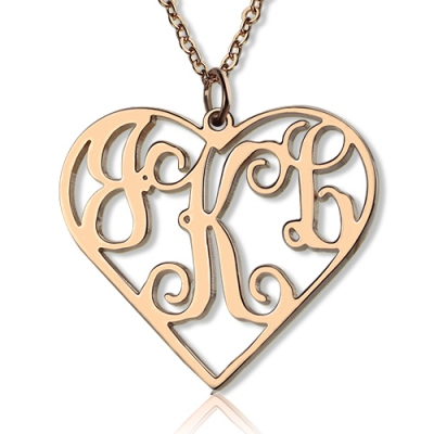 Meaningful Solid Rose Gold Initial Monogram Personalized Heart Necklace