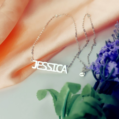 Solid White Gold Attractive Jessica Style Name Necklace