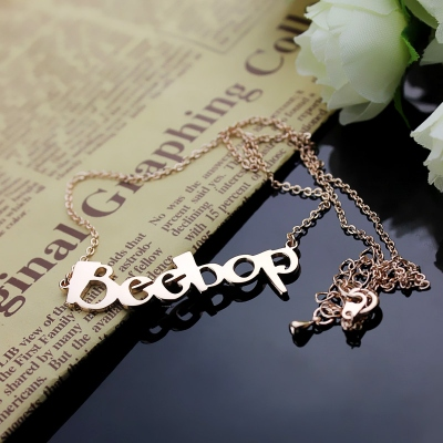 Solid Rose Gold Unequalled Personalized Beetle Font Letter Name Necklace