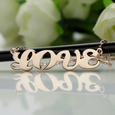 Solid Rose Gold Dazzling Capital Puff Font Name Necklace