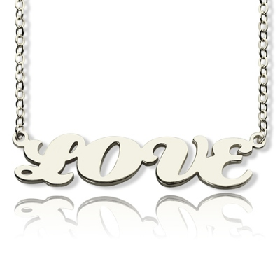 Solid White Gold Classic Capital Puff Font Name Necklace