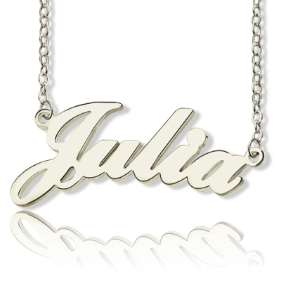 Brilliant Solid White Gold Julia Style Name Necklace
