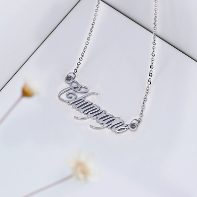 Enchanting Solid White Gold Personalized Champagne Font Name Necklace