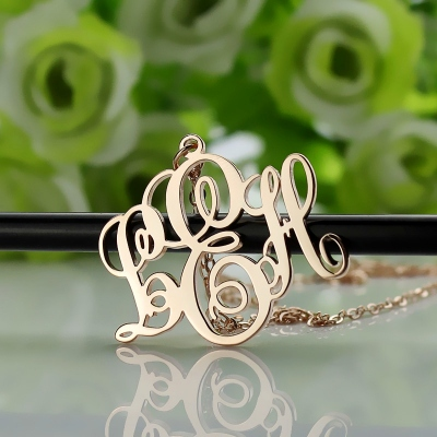 Solid Rose Gold Lovable Personalized Vine Font Initial Monogram Necklace