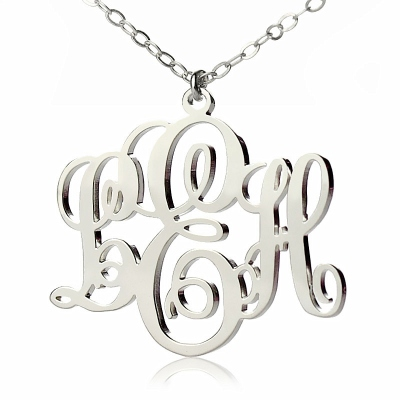 Solid White Gold Flowery Personalized Vine Font Initial Monogram Necklace