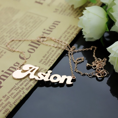 Solid Rose Gold Likable Personalized BANANA Font Style Name Necklace