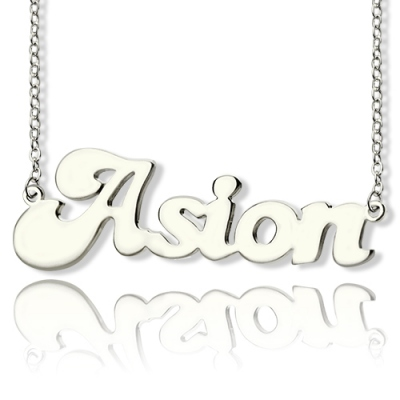 Solid White Gold Funny Personalized BANANA Font Style Name Necklace