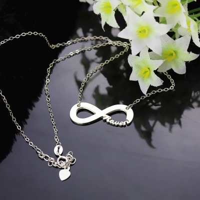 Solid White Gold Dignified Infinity Name Necklace