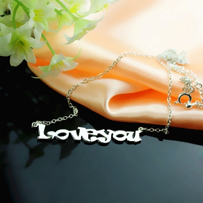 Solid White Gold Lovable Cartoon Ravie Font  Name Necklace