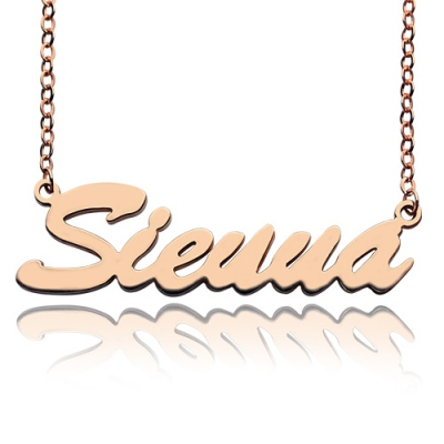 Solid Rose Gold Unmatched Sienna Style Name Necklace