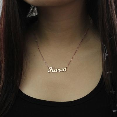 Solid Rose Gold Decent Karen Style Name Necklace