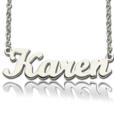 Solid White Gold Gorgeous Karen Style Name Necklace