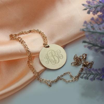 Solid Rose Gold Shinning Engraved Monogram Vine Font Disc Necklace