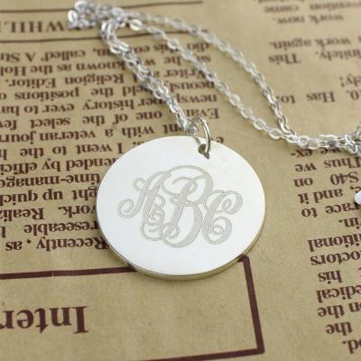 Solid White Gold Dazzling Engraved Monogram Vine Font Disc Necklace