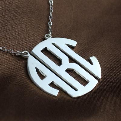 Solid White Gold Trendy Initial Block Monogram Pendant Necklace
