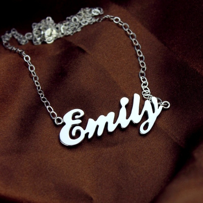 Solid White Gold Glamorous Cursive Script Name Necklace