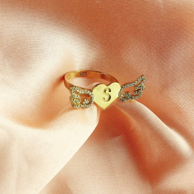 18k Gold Plated Delicate Birthstone & Initial Angel Wings Heart Ring