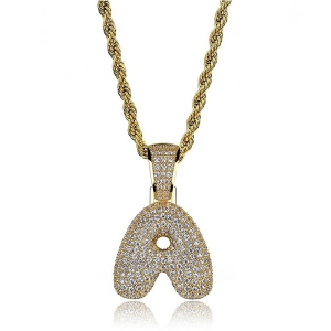 Bubble Letter CZ Hip Hop Pendant in Gold