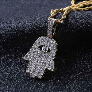 Iced Out Hamsa Hand Pendant in Gold