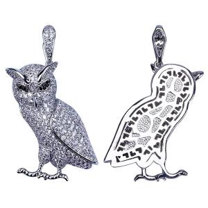 CZ Owl Hip Hop Pendant