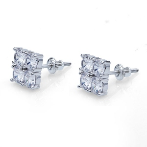 2-Row CZ Stud Earrings for Women