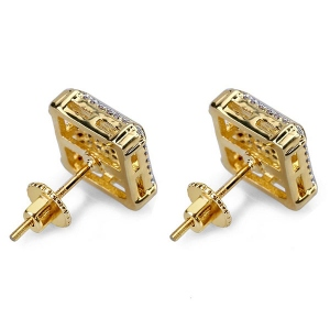 Square Studs Hip Hop Earrings In Gold Plated Brass