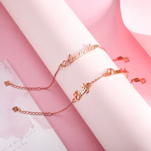 Personalized 1-4 Names Bracelet in Rose Gold