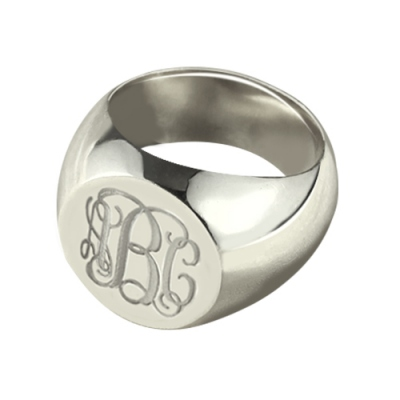 Sterling Silver Ingenious Engravable Signet Monogram Ring