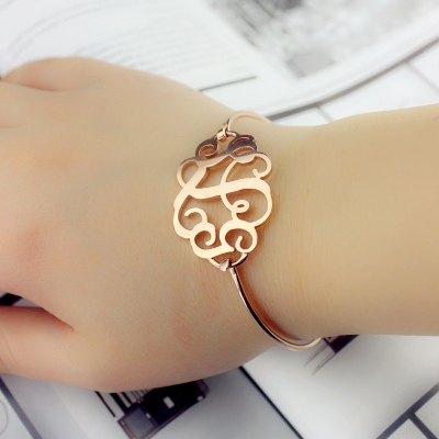 Rose Gold Aesthetic Monogram Initial Bangle Bracelet 1.25 Inch