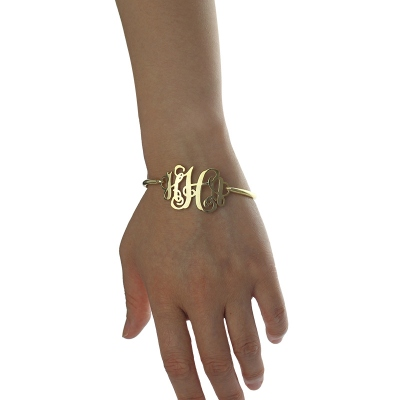 Refined 18K Gold Plated Monogram Initial Bracelet 1.25 Inch